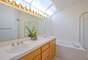 Traditional 3/4 Bathroom with Flat panel cabinets, Skylight, Large Ceramic Tile