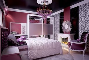 Art Deco Master Bedroom with Paint 1, interior wallpaper, Standard height, Crown molding, Chandelier, Damask wallpaper