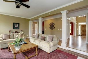 Traditional Living Room with Endura-Craft Square Non-Tapered Fluted Column w/ Standard Capital and Base, Sunken living room
