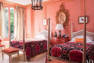 Eclectic Guest Bedroom with Crown molding, Laminate floors, Pendant light, French doors