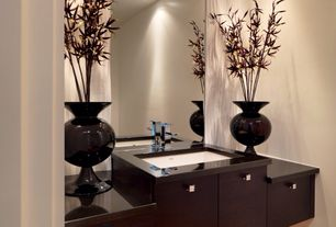 Asian Powder Room with European Cabinets, Undermount sink, Cyan Design 01769 Cocoa Fish Bowl Vase, Black, Hardwood floors
