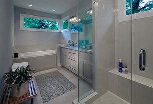 Contemporary Master Bathroom with Undermount sink, Bathtub, Flush, Double sink, partial backsplash, Master bathroom, Paint 1