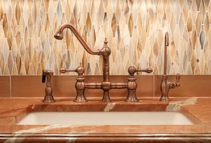 Traditional Kitchen with Whitehaus, 2-handle side sprayer faucet in antique copper, Ann sacks back splash tile design