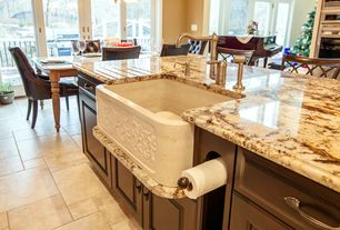 Traditional Kitchen with Flat panel cabinets, Breakfast bar, Complex granite counters, Farmhouse sink, Pendant light, Flush