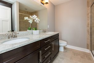 Modern 3/4 Bathroom with Simple granite counters, Flush, Ms international snowfall granite, Flat panel cabinets, Double sink