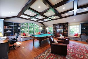 Country Game Room with OFM Inc Modern Mesh Ergonomic Task Arm Chair, Built-in bookshelf, Exposed beam, Window seat