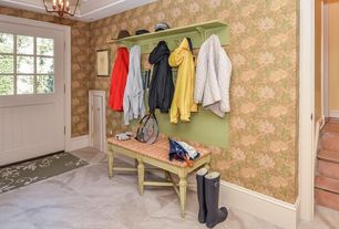 Cottage Mud Room with interior wallpaper, Constance Gustavian French Country Weathered Bench - Short, Glass panel door