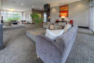 Modern Living Room with Carpet, flush light, Crown molding