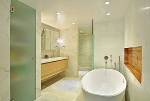 Contemporary Master Bathroom with frameless showerdoor, Freestanding, Master bathroom, Undermount sink
