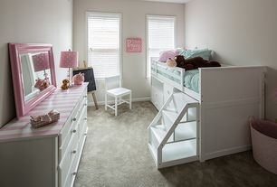 Modern Kids Bedroom with Built-in bookshelf, Carpet