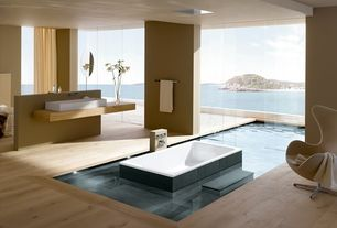 Modern Master Bathroom with Vessel sink, Master bathroom, Wood counters, Hardwood floors, Arne jacobsen egg chair