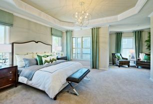 Traditional Master Bedroom with Crown molding, Carpet, Chandelier