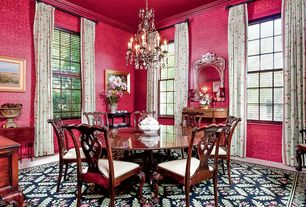 Traditional Dining Room with interior wallpaper, Feiss Chateau 6 Light Chandelier, Carpet, Chandelier, Crown molding