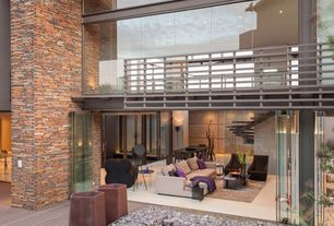 Contemporary Living Room with Loft, French doors, High ceiling, Columns