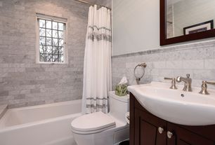 Contemporary Full Bathroom with tiled wall showerbath, Bianco carrara marble subway tile - 3x6 polished, Farmhouse sink