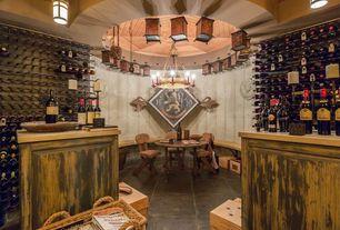 Rustic Wine Cellar with Standard height, flush light, Chandelier, Pendant light, Exposed beam, Concrete tile