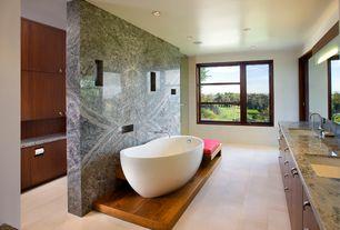 "Contemporary Master Bathroom with Barclay atsn60f-wh lorenzo 60"" acrylic slipper freestanding tub in white, Flush"