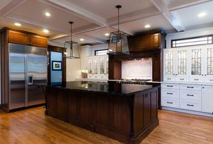 Traditional Kitchen with Standard height, U-shaped, Box ceiling, Built In Refrigerator, Flat panel cabinets, Subway Tile