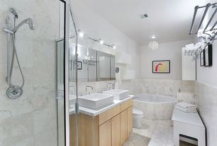 Contemporary Master Bathroom with Stone Tile, Wall sconce, Standard height, full backsplash, Master bathroom, Double sink