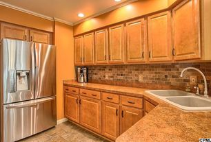 Country Kitchen with Slate Tile, Floor And Decor Mix Brick Travertine Mosaic, limestone tile floors, Crown molding, U-shaped