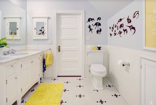 Traditional Kids Bathroom with Wall Tiles, Mural, specialty door, Flat panel cabinets, Vaulted ceiling, Undermount sink