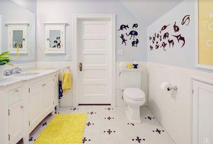 Traditional Kids Bathroom with partial backsplash, Kids bathroom, specialty door, Undermount sink, Paint 1, Vaulted ceiling