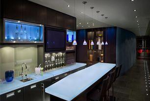 Modern Bar with Standard height, Concrete tile , Built-in bookshelf, Pendant light, can lights