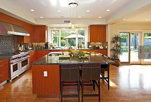 Contemporary Kitchen with Pendant light, French doors, Ceramic Tile, Woodbridge Venezia 3 Light Mini Pendant, Kitchen island