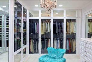 Traditional Closet with Carpet, Crown molding, Chandelier, Built-in bookshelf, French doors
