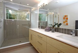 Contemporary 3/4 Bathroom with Stone Tile, Flush, Undermount sink, Slate Tile, Double sink, European Cabinets, Rain shower