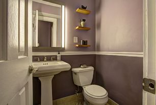 Traditional Powder Room with Pedestal sink, Powder room, Wall sconce, stone tile floors, Paint 1, Standard height, Chair rail