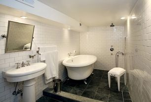 Traditional Full Bathroom with Rain shower, Handheld showerhead, Pedestal sink, Clawfoot, flush light