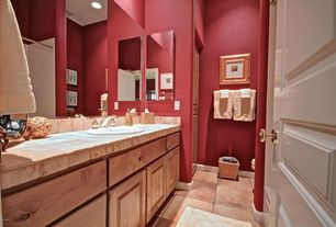 Mediterranean Full Bathroom with terracotta tile floors, Terracotta Tile, Dura Supreme Cabinetry Oxford Classic Panel
