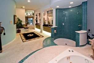 Eclectic Master Bathroom with Bidet, Rome Ivory Dot Mounted Ceramic Mosaic Floor and Wall Tile, Inset cabinets, Loft, Columns
