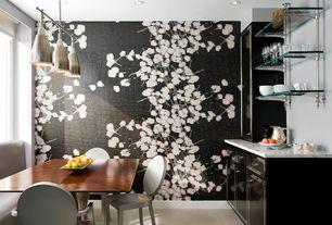 Contemporary Dining Room with Rebel Walls La Vie En Tulipe Black, interior wallpaper, Pendant light, Built-in bookshelf
