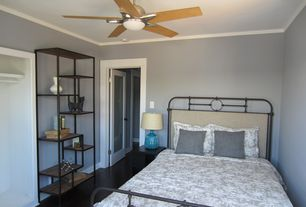 Contemporary Guest Bedroom with French doors, Crown molding, Ceiling fan, Hardwood floors