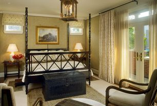 Traditional Master Bedroom with Chandelier, Standard height, Balcony, French doors, interior wallpaper, can lights, Casement