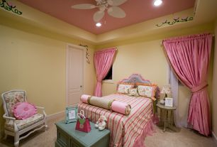 Traditional Kids Bedroom with Carpet, Ceiling fan, Built-in bookshelf
