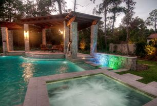 "Rustic Swimming Pool with Romana panel stone veneer, Lamps plus bellagio 16 1/2"" high downridge outdoor wall light"