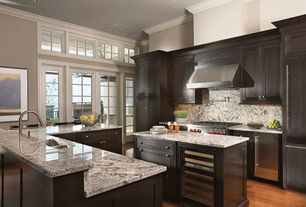 Traditional Kitchen with Pella Architect Series Hinged Patio Door with Traditional Grille, Complex granite counters, Flush