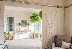 "Cottage Patio with exterior stone floors, Artisan Strap Barn Door Hardware Kit, Boston fern hanging basket - 18"", Barn door"