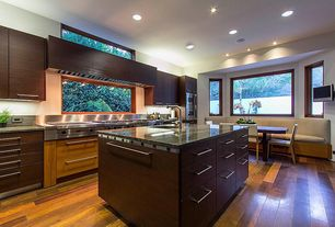 Contemporary Kitchen with Undermount sink, KitchenCraft Summit Horizontal Solid Bamboo Panel In Thunder, Breakfast nook