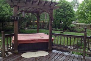 Traditional Hot Tub with Fence, Trellis, Pathway