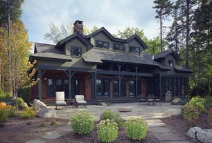 Craftsman Patio with Outdoor kitchen, Slate patio, Exterior paint, Contrasting exterior trim, exterior stone floors, Pathway