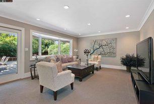 Traditional Living Room with Hardwood floors, Crown molding, Bay window