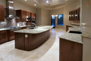 Contemporary Kitchen with Florida Tile Floor/Wall Tile 18 X 18 Polished Light Travertine, Ceramic Tile, Flush, French doors