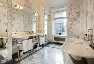 Traditional Master Bathroom with Arizona Tile, Statuary Extra, Marble, Console sink, Simple marble counters, Freestanding