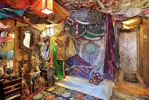 Eclectic Master Bedroom with Hickory Manor House Ornate English Mirror, Indian mandala tapestry, Built-in bookshelf