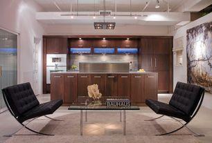 Modern Kitchen with Casement, Paint1, full backsplash, French doors, Ceramic Tile, flush light, Kitchen island, High ceiling