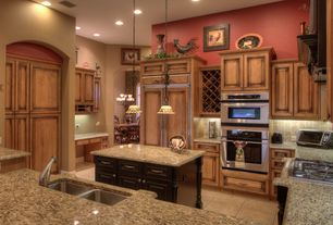 Country Kitchen with U-shaped, Limestone, double wall oven, Raised panel, electric cooktop, full backsplash, Custom hood